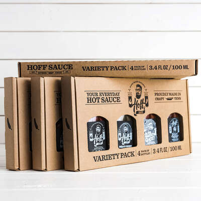 Hoff & Pepper  Mini-Flask Variety  Hot Sauce  4 pk