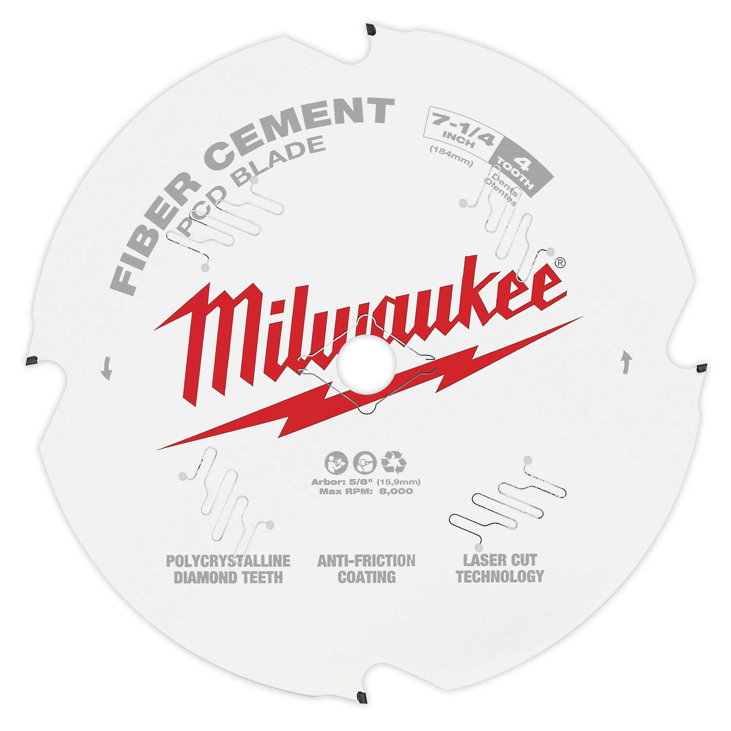 Milwaukee  7-1/4 in. Dia. x 5/8 in.  Fiber Cement Blade  Polycrystalline Diamond  4 teeth 1 pk