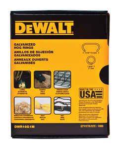 DeWalt  6 in. Steel  Hog Ring Fasteners  Gray  1000 pk