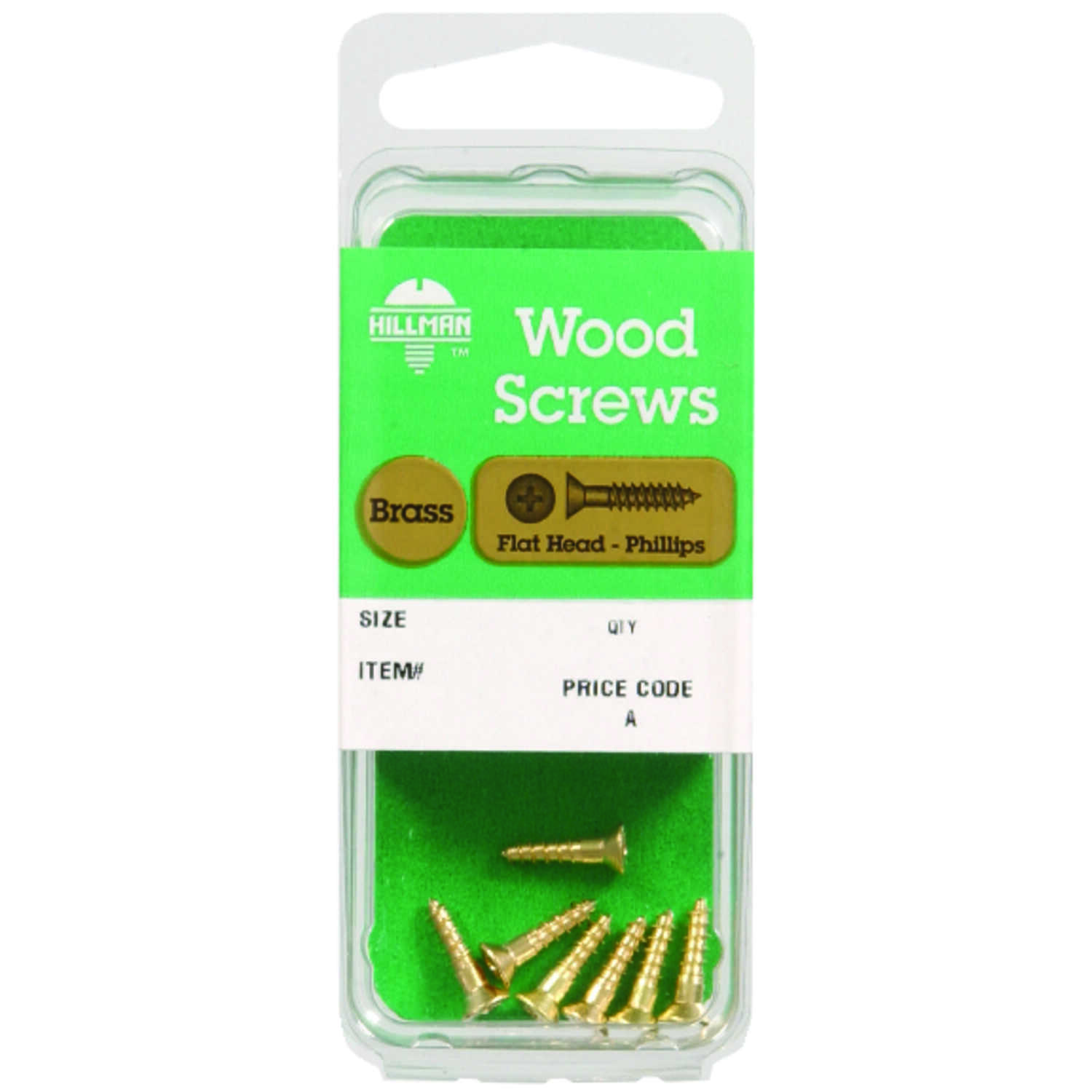 HILLMAN  No. 6   x 1-1/4 in. L Phillips  Flat Head Brass  Wood Screws  4 pk