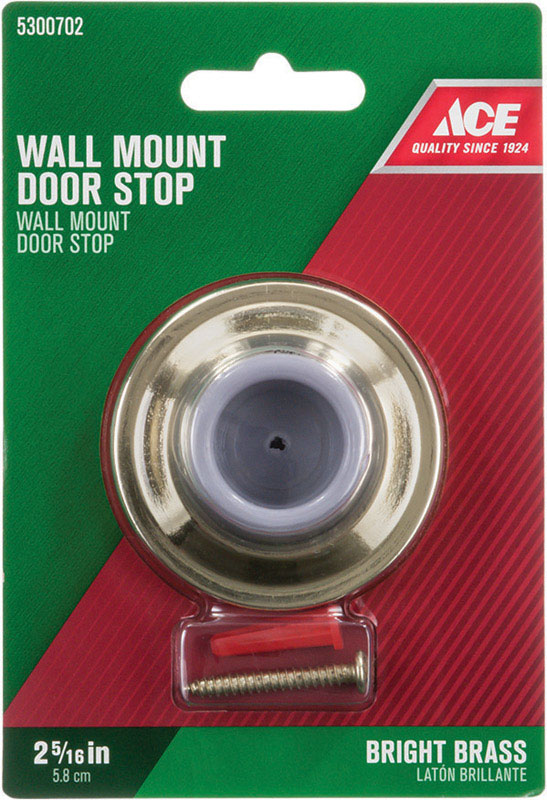 Ace  2.25 in. H x 2-5/16 in. W Gold  Bright  Mounts to door and wall  Solid Brass w/Rubber Stop  Wal