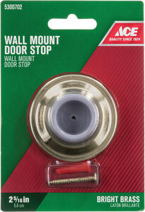 Ace  2.25 in. H x 2-5/16 in. W Bright  Gold  Solid Brass w/Rubber Stop  Wall Door Stop  Mounts to do