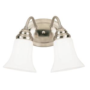 Westinghouse  2  Brushed Nickel  White  Wall Sconce