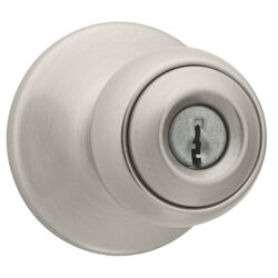Kwikset Polo Satin Nickel Entry Knobs ANSI/BHMA Grade 3 1-3/4 in.