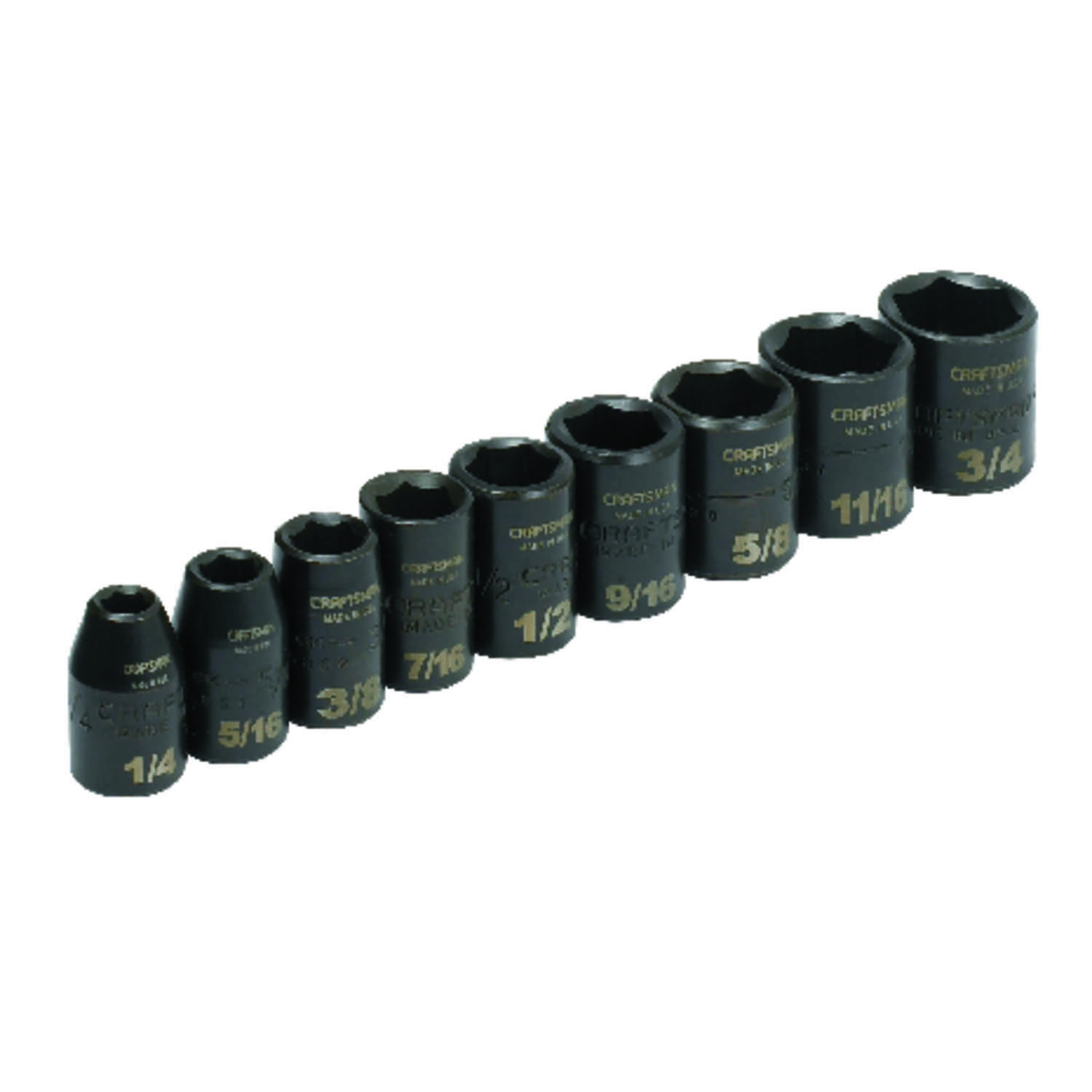 Craftsman  1/4 in.  x 3/8 in. drive  SAE  6 Point Socket Set  9 pc.