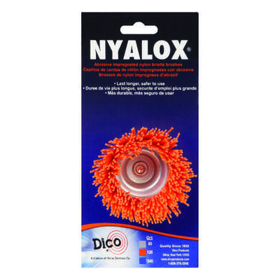Dico  NYALOX  2.5 in. Dia. x 1/4  Dia. Crimped  Nylon  Mandrel Mounted  Cup Brush  2500 rpm 1 pc.