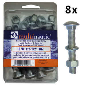 Multinautic  Steel  2.5 in. L Bolt and Nuts Kit  8 pk