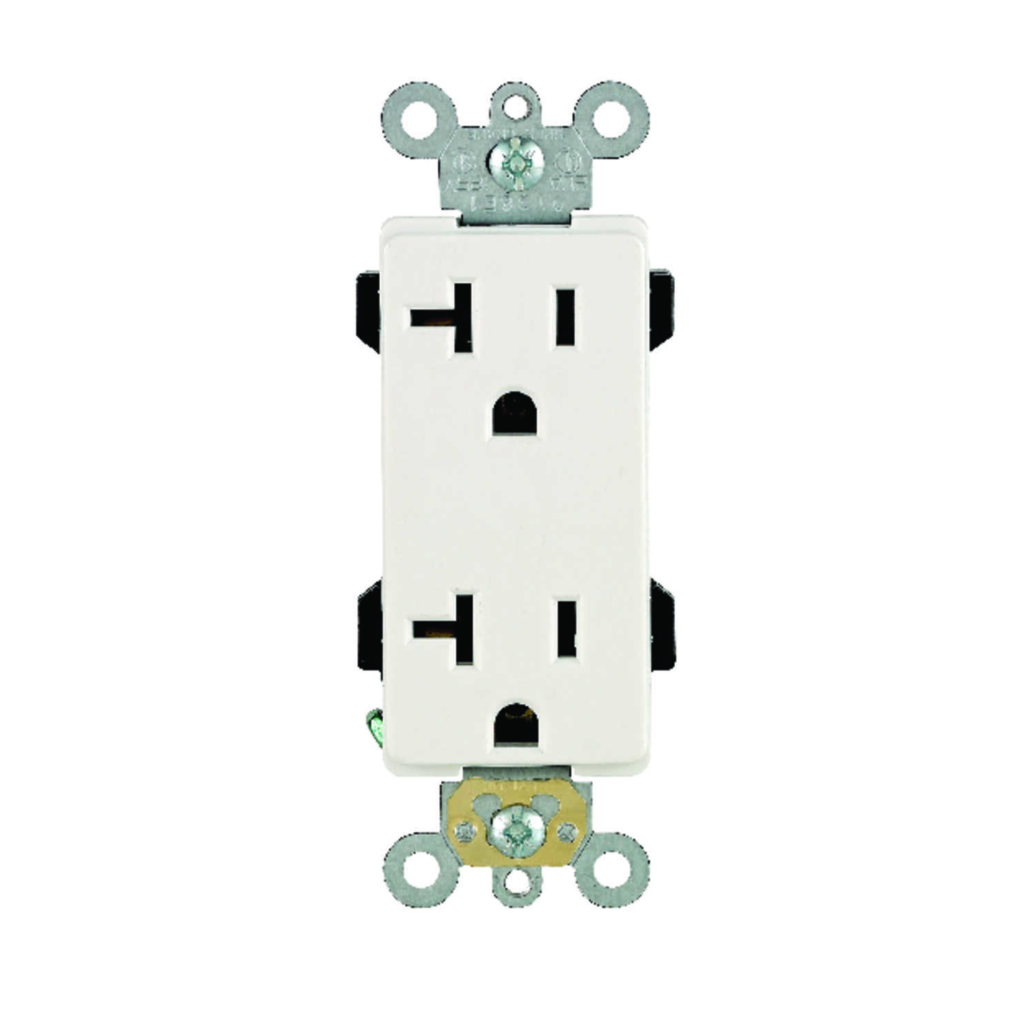 Leviton  Decora Plus  20 amps 125 volt White  Outlet  5-20R  1 pk