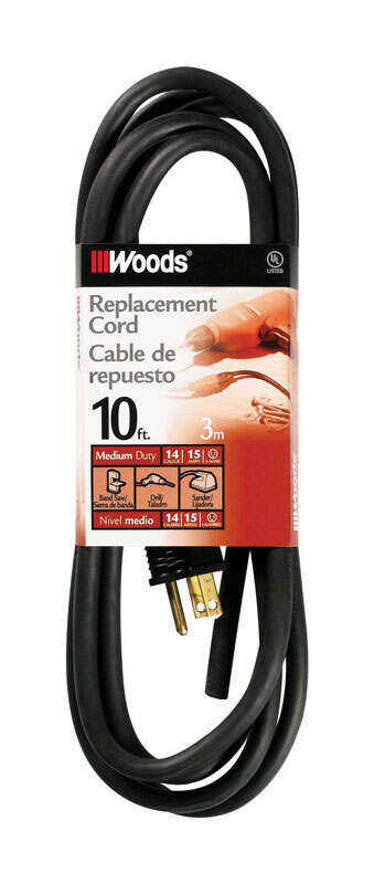 Woods  14/3 SJEW  125 volt 10 ft. L Replacement Power Cord