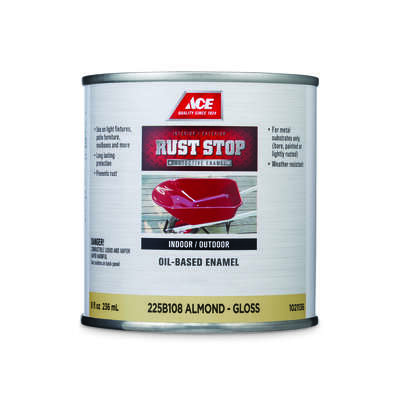 Ace  Rust Stop  Indoor/Outdoor  Gloss  Almond  Oil-Based Enamel  Rust Preventative Paint  1/2 pt.