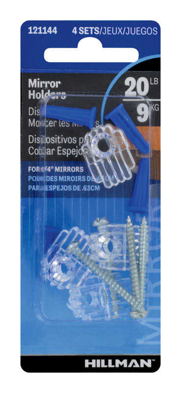 Hillman  AnchorWire  Steel-Plated  Silver  Acrylic  Mirror Holder Kit  1 lb. 4 pk