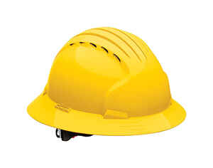 Safety Works  Polyethylene  Full Brim Hard Hat  Yellow  Vented 1 pk