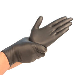 Synguard Nitrile Disposable Gloves Medium Black Powder Free 100