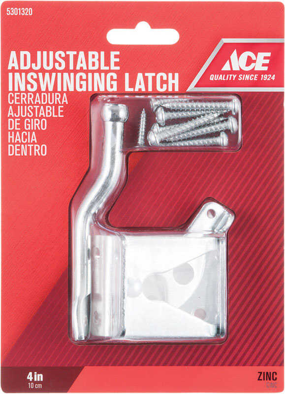 Ace  6.89 in. H x 5 in. W x 1.89 in. L Zinc-Plated  Metallic  Zinc  Adjustable Inswing Gate Latch