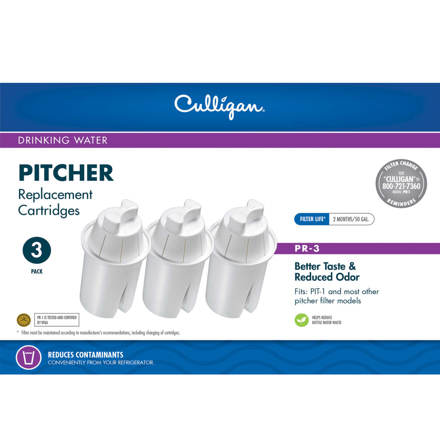 Culligan  Better Water Pure and Simple  Replacement Cartridge  For Pitchers 50 gal.