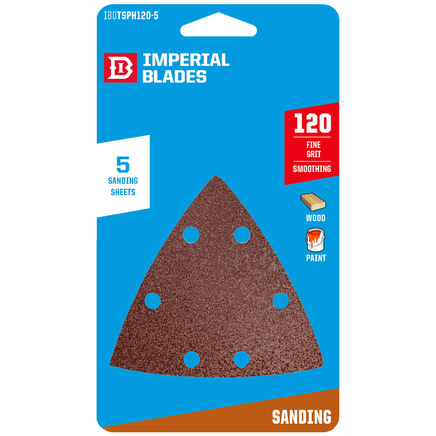 Imperial Blades  3-1/8 in. W 120 Grit Emery  Vacuum Hole Sandpaper  5 pk