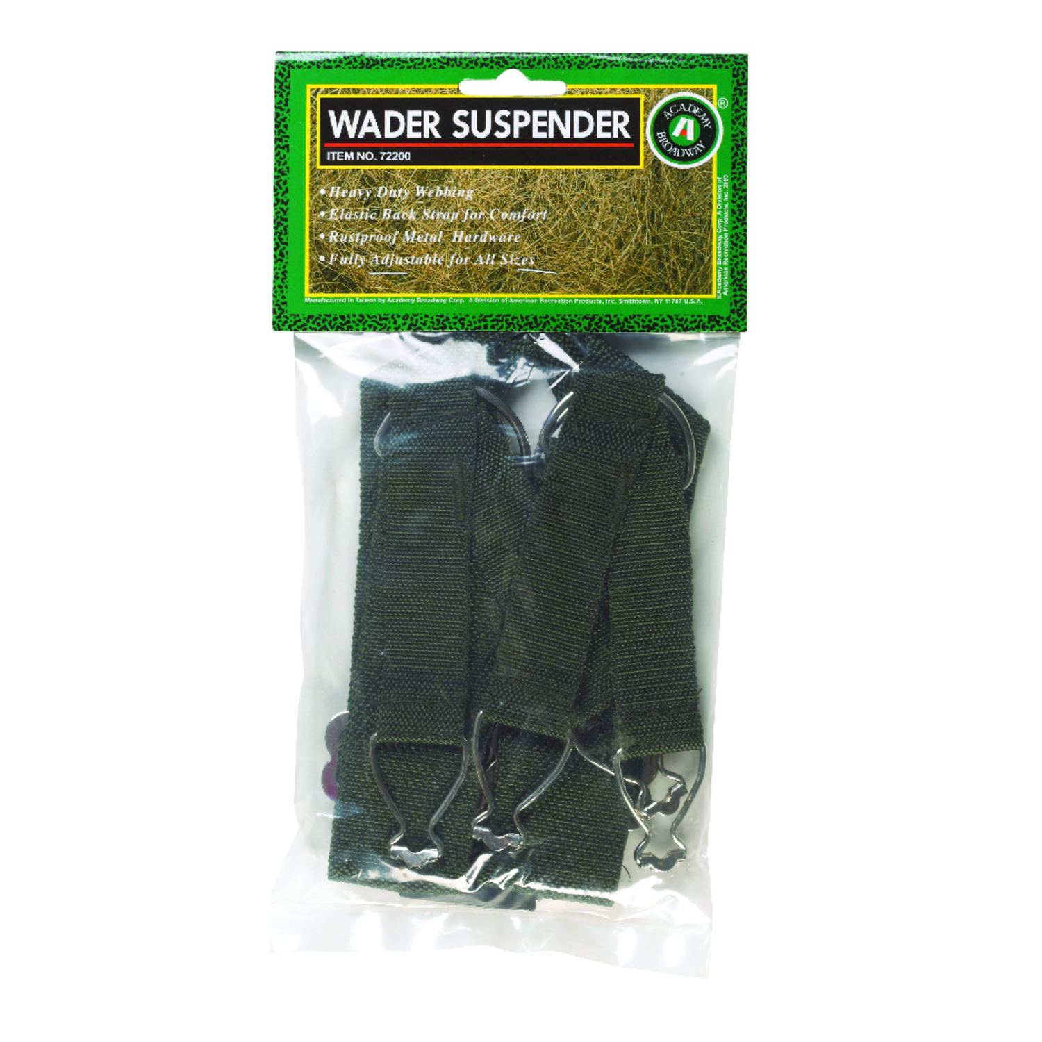 Academy Broadway  28 in. Fabric  Nylon Chest Wader Suspender  50 in. Green