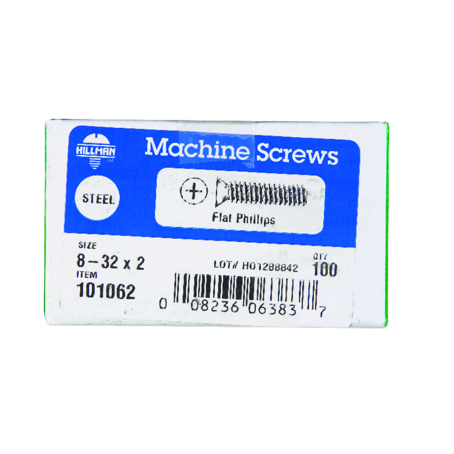 Hillman  No. 8-32 in.  x 2 in. L Phillips  Flat Head Zinc-Plated  Steel  Machine Screws  100 pk
