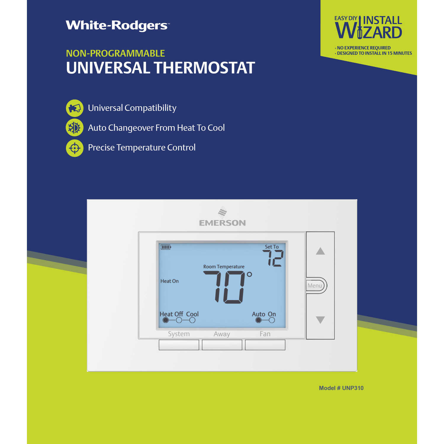 White Rodgers  Heating and Cooling  Touch Screen  Thermostat