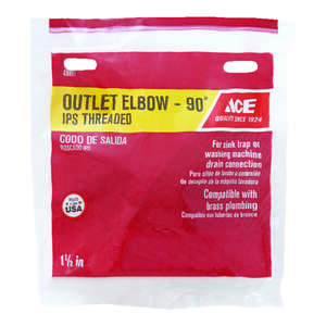 Ace  1-1/2 in. Slip   x 1-1/2 in. Dia. Slip  Plastic  Elbow