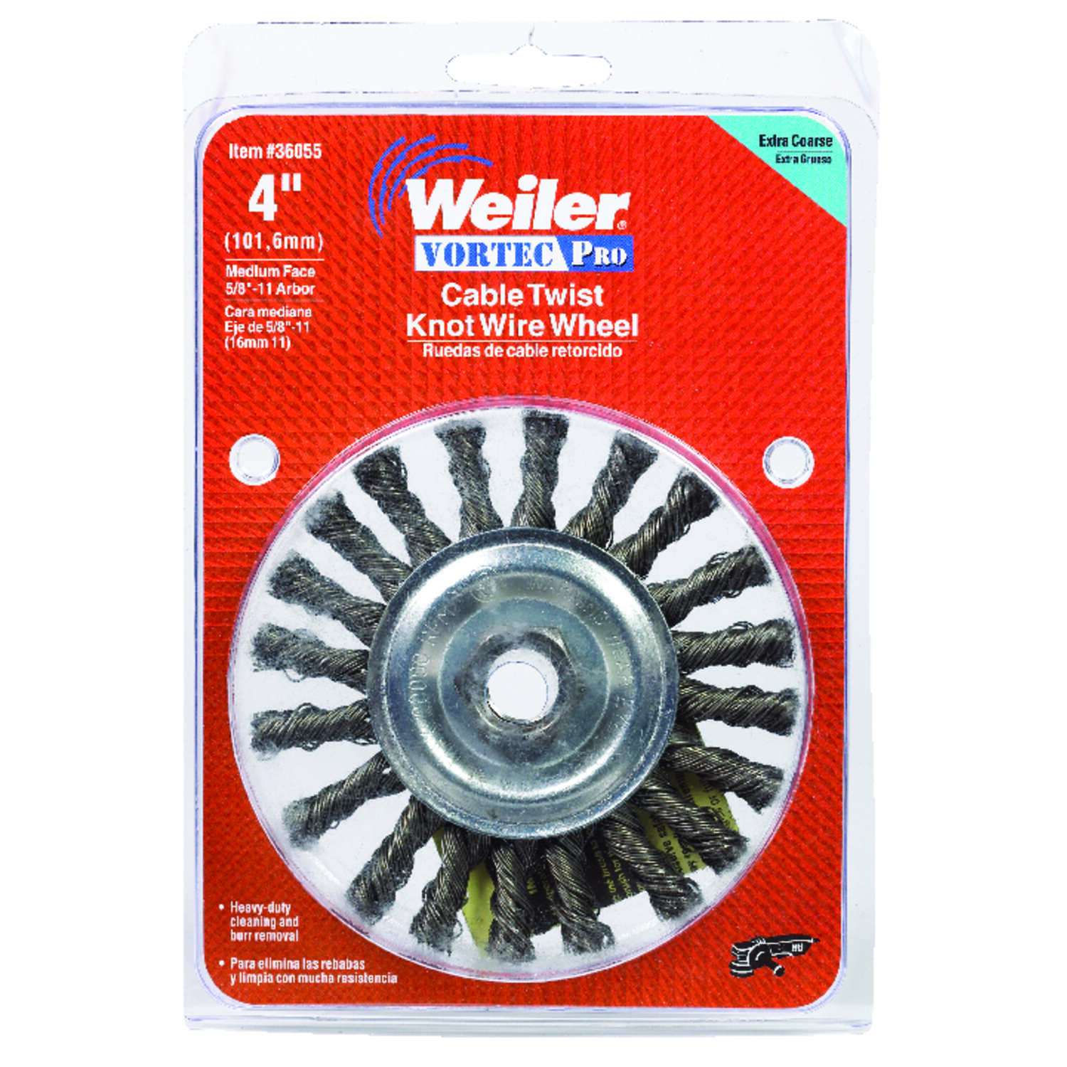 Weiler  Vortec Pro  4 in. Cable Twist  Wire Wheel Brush  Steel  20000 rpm 1 pc.