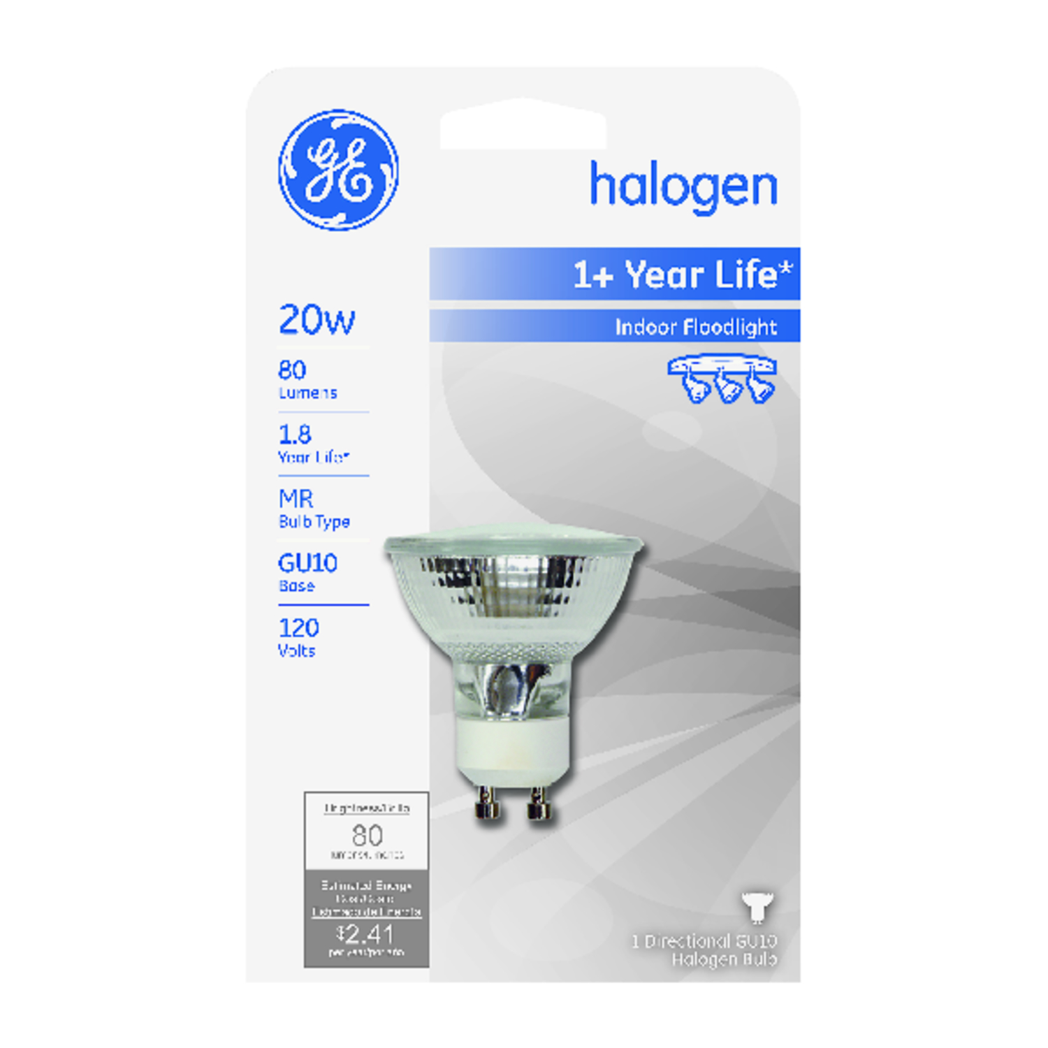 GE Lighting  Edison  20 watts MR16  Halogen Bulb  80 lumens White  1 pk Floodlight