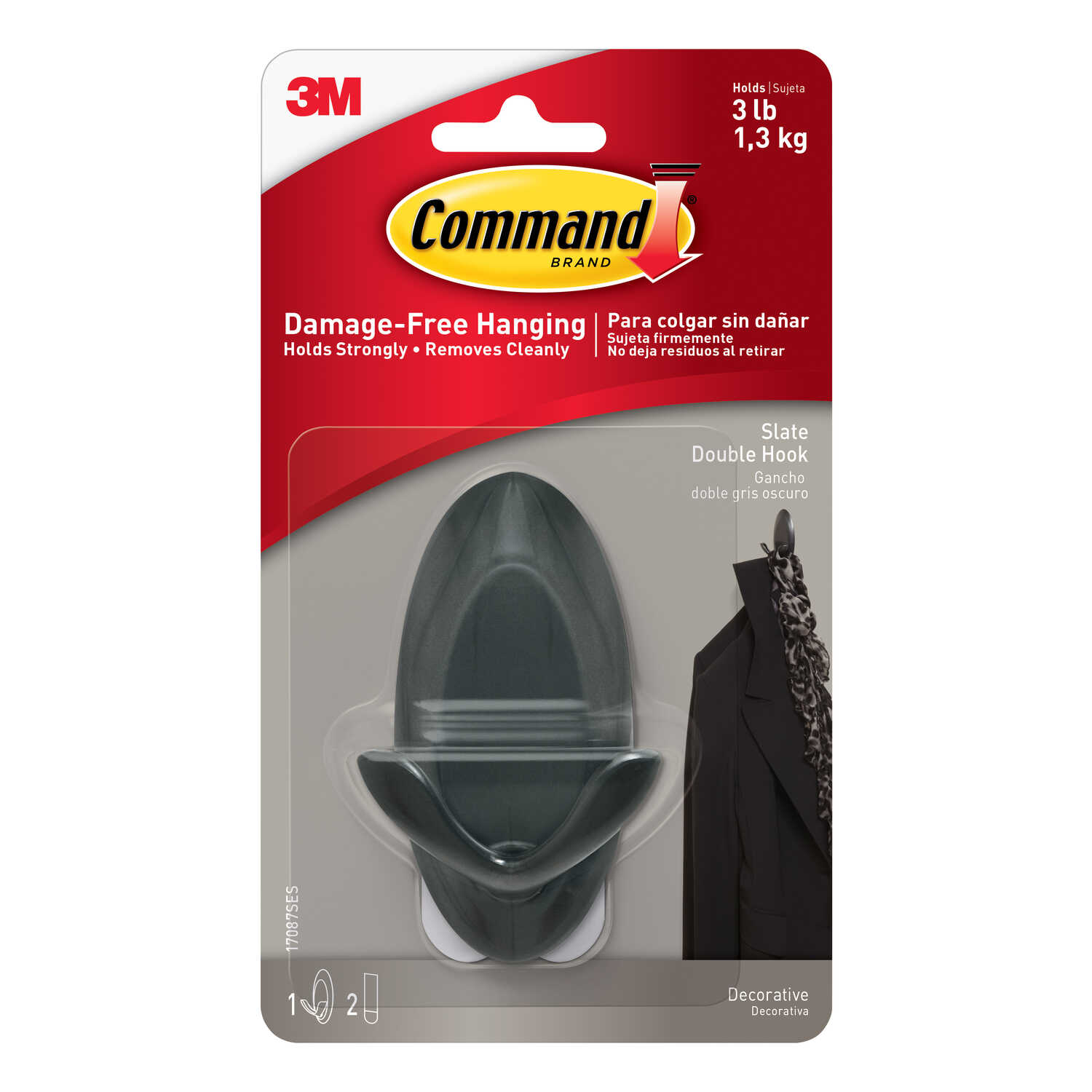 3M  Command  Medium  Plastic  Hook  3-1/4 in. L 1 pk