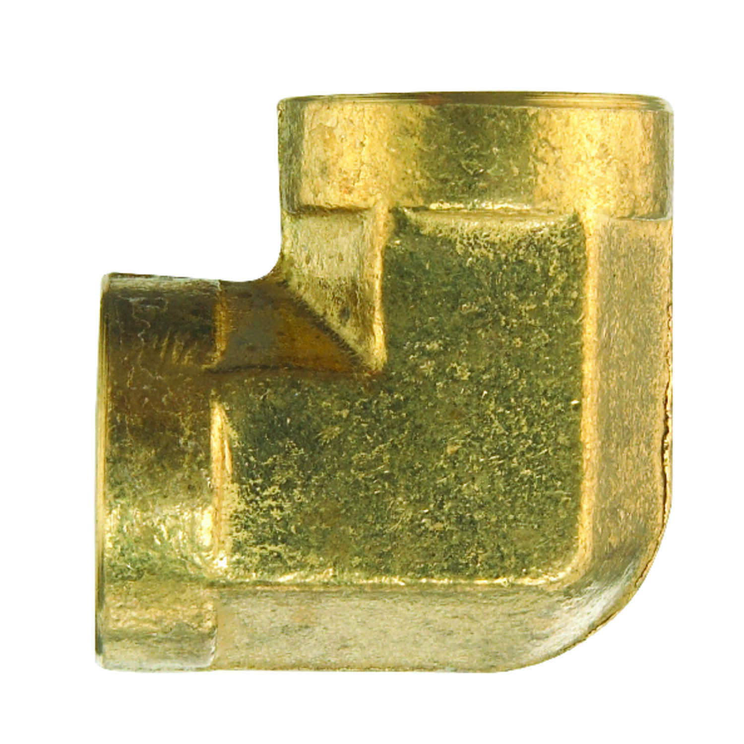 JMF  3/8 in. Dia. x 3/8 in. Dia. FPT To FPT  90 deg. Yellow Brass  Elbow