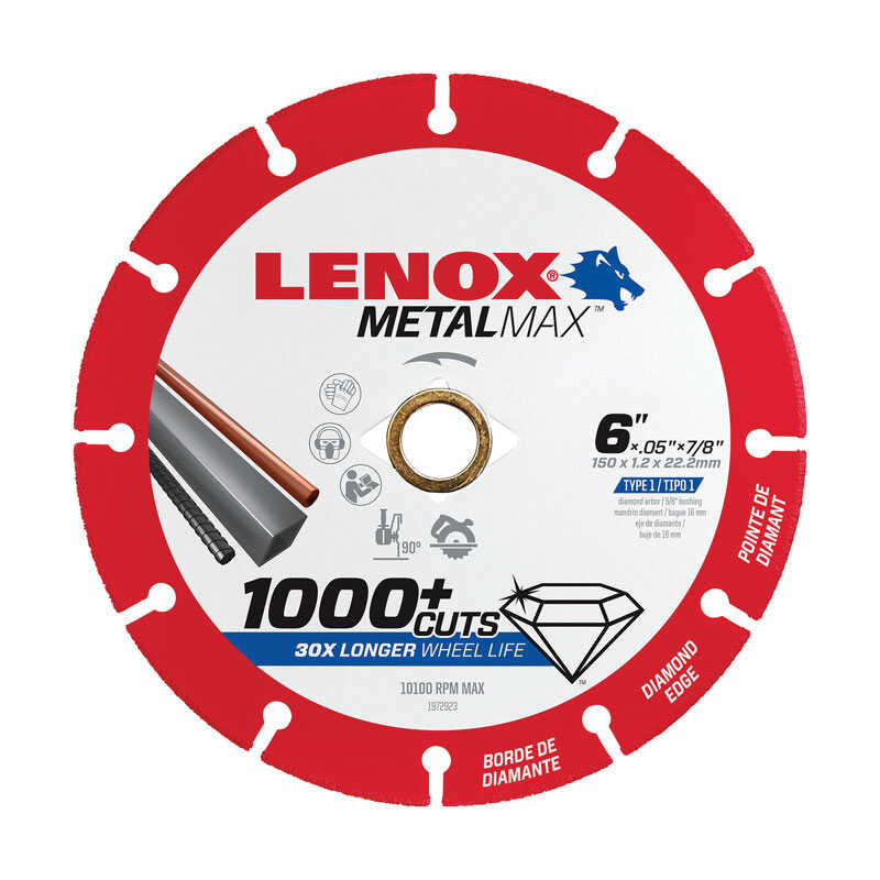Lenox  MetalMax  6 in. Dia. x 7/8 in.  Diamond/Metal  Metal Cut-Off Blade  1 pc.