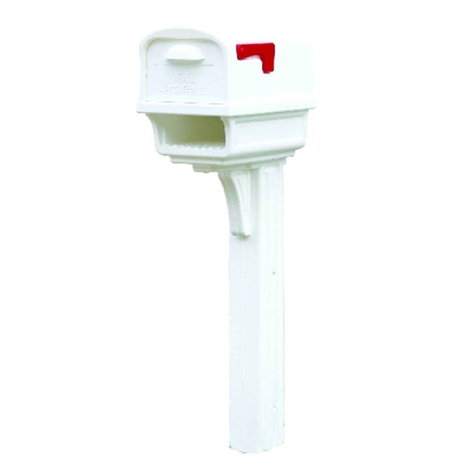 Gibraltar Mailboxes  Gibraltar  Gentry  Plastic  Post and Box Combo  White  Mailbox w/Post  50 in. H