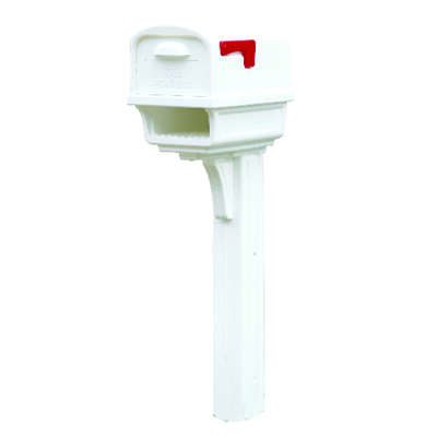 Gibraltar Mailboxes  Gentry  Plastic  Post and Box Combo  White  Mailbox  50 in. H x 11-1/2 in. W x