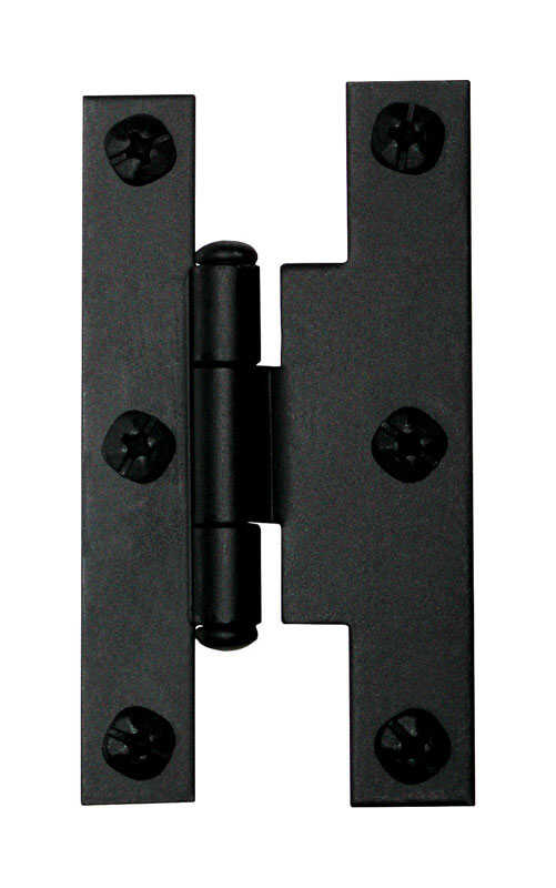 Acorn  1-11/16 in. W x 3 in. L Smooth  Black  Iron  H Hinge  2 pk