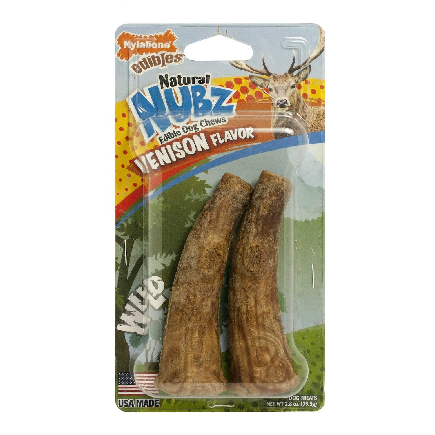 Nylabone  Nubz  Venison  Dog  Bone  2 count