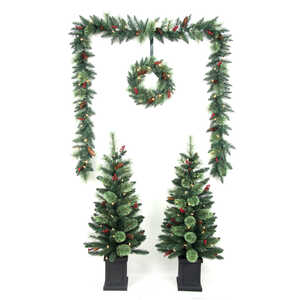 Celebrations  White  Prelit Cashmere  Christmas Tree, Wreath and Garland Combo  6 ft.