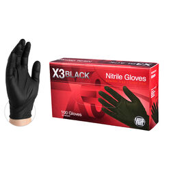 X3 Nitrile Disposable Gloves X-Large Black Powder Free 100 pk