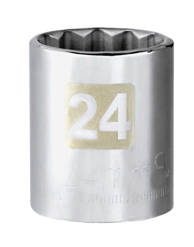 Craftsman  24 mm  x 1/2 in. drive  Metric  12 Point Standard  Socket  1 pc.