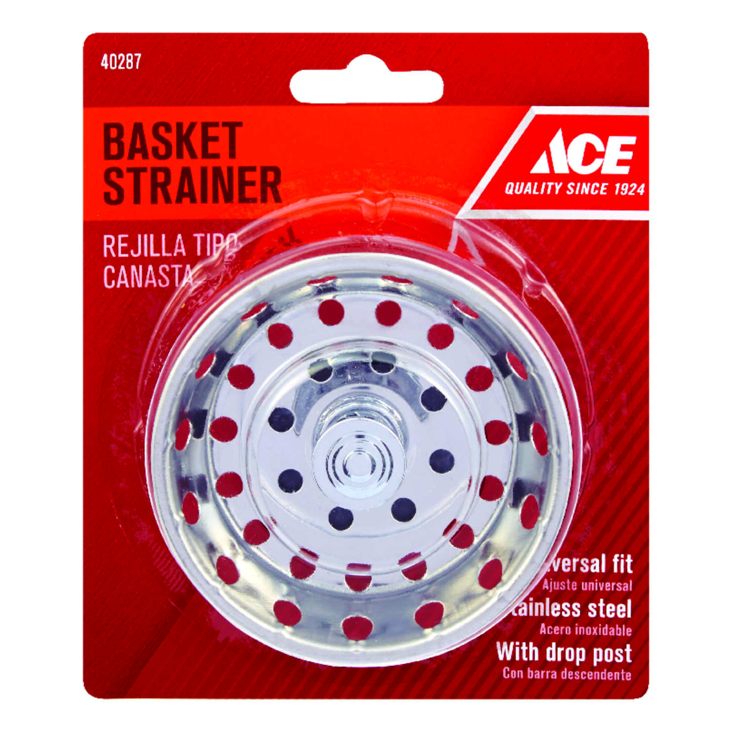 Ace  Universal in. Dia. Pop-In Sink Stopper  Stainless Steel