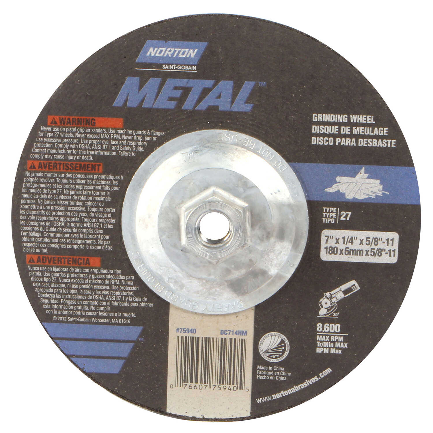 Norton  7 in. Dia. x 1/4 in. thick  x 5/8 in.   Aluminum Oxide  Grinding Wheel  8600 rpm 1 pc.