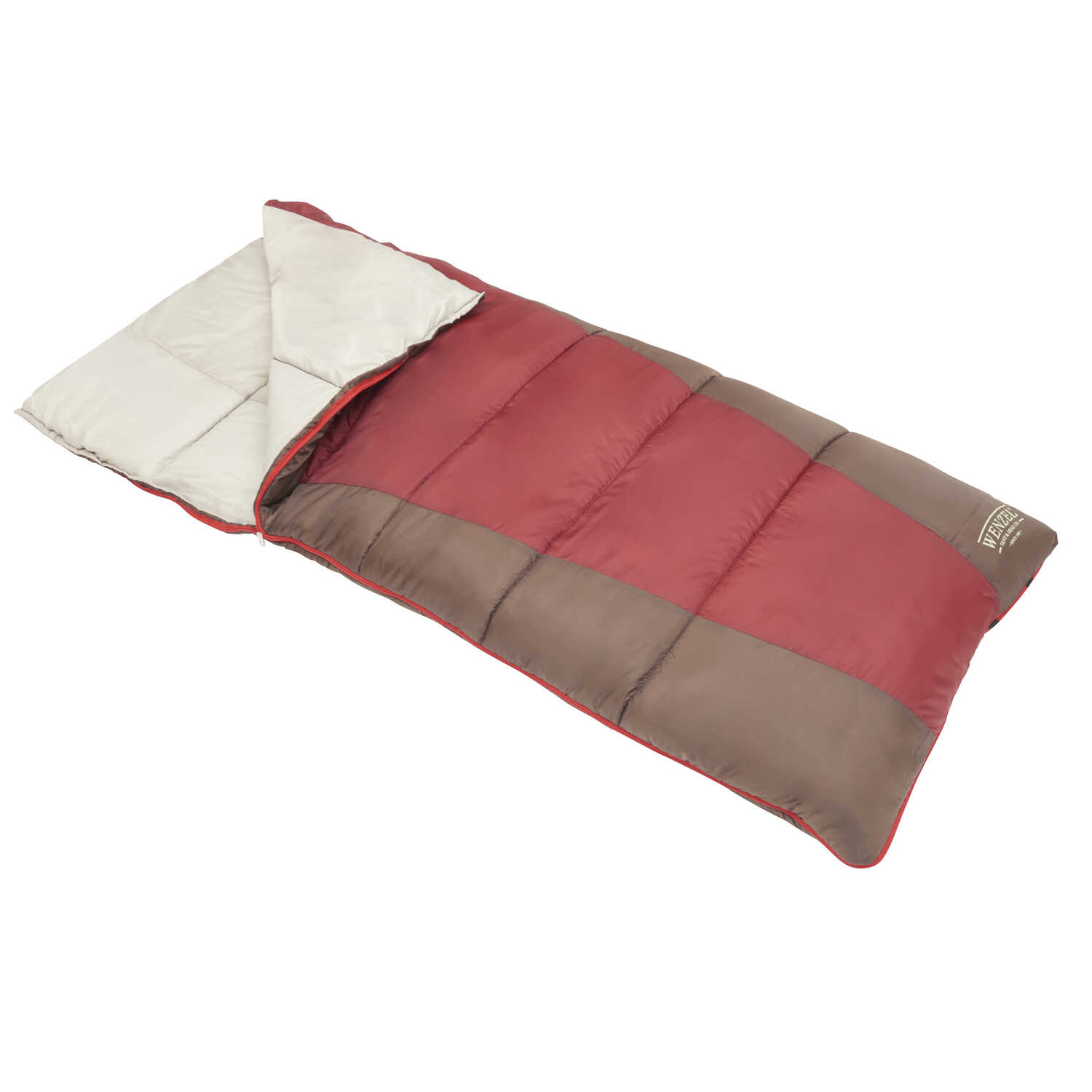 Wenzel  Gray/Red  Sleeping Bag  3 in. H x 33 in. W x 78 in. L 1 pc.