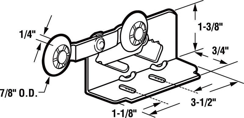 Prime-Line  7/8 in. Dia. x 1/4 in. L Mill  Plastic/Steel  Roller Assembly  2