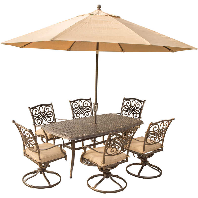 Hanover  7 pc. Bronze  Aluminum  Patio Set  Tan