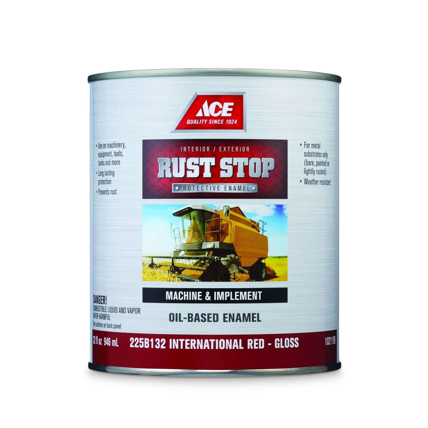 Ace  Rust Stop  Indoor / Outdoor  Gloss  International Red  Oil-Based Enamel  Rust Preventative Pain