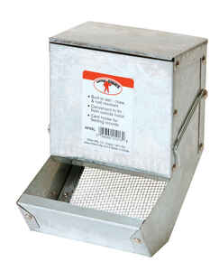 Pet Lodge  Galvanized Steel  Rabbit Feeder  Silver  7 in. H x 5 in. W x 5 in. D
