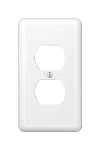 Amerelle  Devon  White  1 gang Stamped Steel  Duplex Outlet  Wall Plate  1 pk