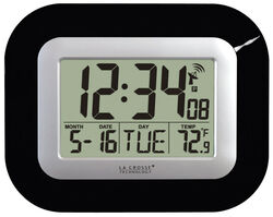 La Crosse Technology 9 in. L x 1-1/2 in. W Indoor Contemporary Digital Atomic Wall Clock Plasti