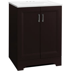 Continental Cabinets  Single  Dark  Espresso  Vanity Combo  24 in. W x 18-1/2 in. D x 33-1/2 in. H
