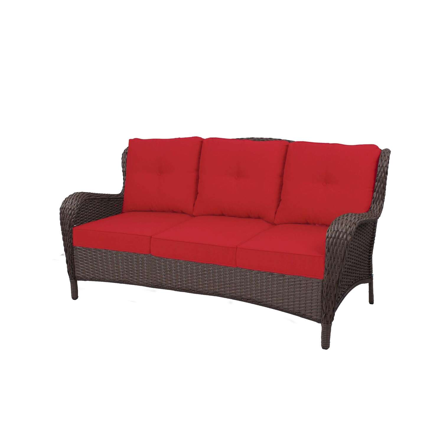 Living Accents  Brown  Steel Frame Deep Seating  Sofa  Red