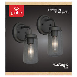 Globe Electric  River  1-Light  Matte  Black  Vintage  Wall Sconce