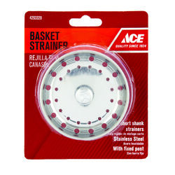Ace  3 in. Dia. Chrome  Stainless Steel  Strainer Basket