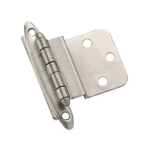 Amerock  2 in. W x 2-3/4 in. L Satin Nickel  Steel  Decorative Hinge  2 pk